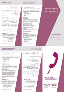 Mehrsprachiger Folder der Beratungsstelle Extremismus. Sprachen: De, Ara, Fas, Tur. Weitere mehrsprachige Informationen befinden sich auf der Startseite der Website: www.beratungsstelleextremismus.at