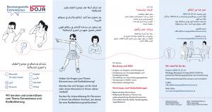 Folder der Beratungsstelle Extremismus in Arabisch (4-seitig)