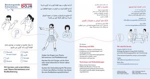 Folder der Beratungsstelle Extremismus in Farsi (4-seitig)