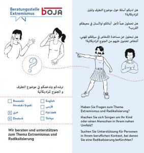 Folder der Beratungsstelle Extremismus in Arabisch