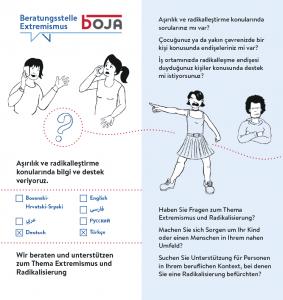 Folder der Beratungsstelle Extremismus (Türkisch), Seite 1