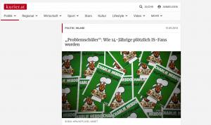"""Screenshot vom Kurierartikel: """"Problemschüler"""": Wie 14-Jährige plötzlich IS-Fans wurden"""