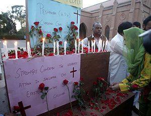 Foto mit Trauerbezeugungen für die Opfer der Anschläge in Sri Lanka