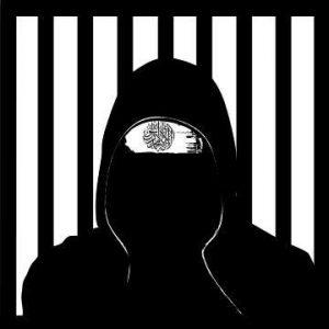 Zeichnung von einer vermummten Person, hinter ihr Gitter