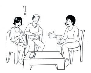 Beratungssituation: Eltern und eine Beraterin